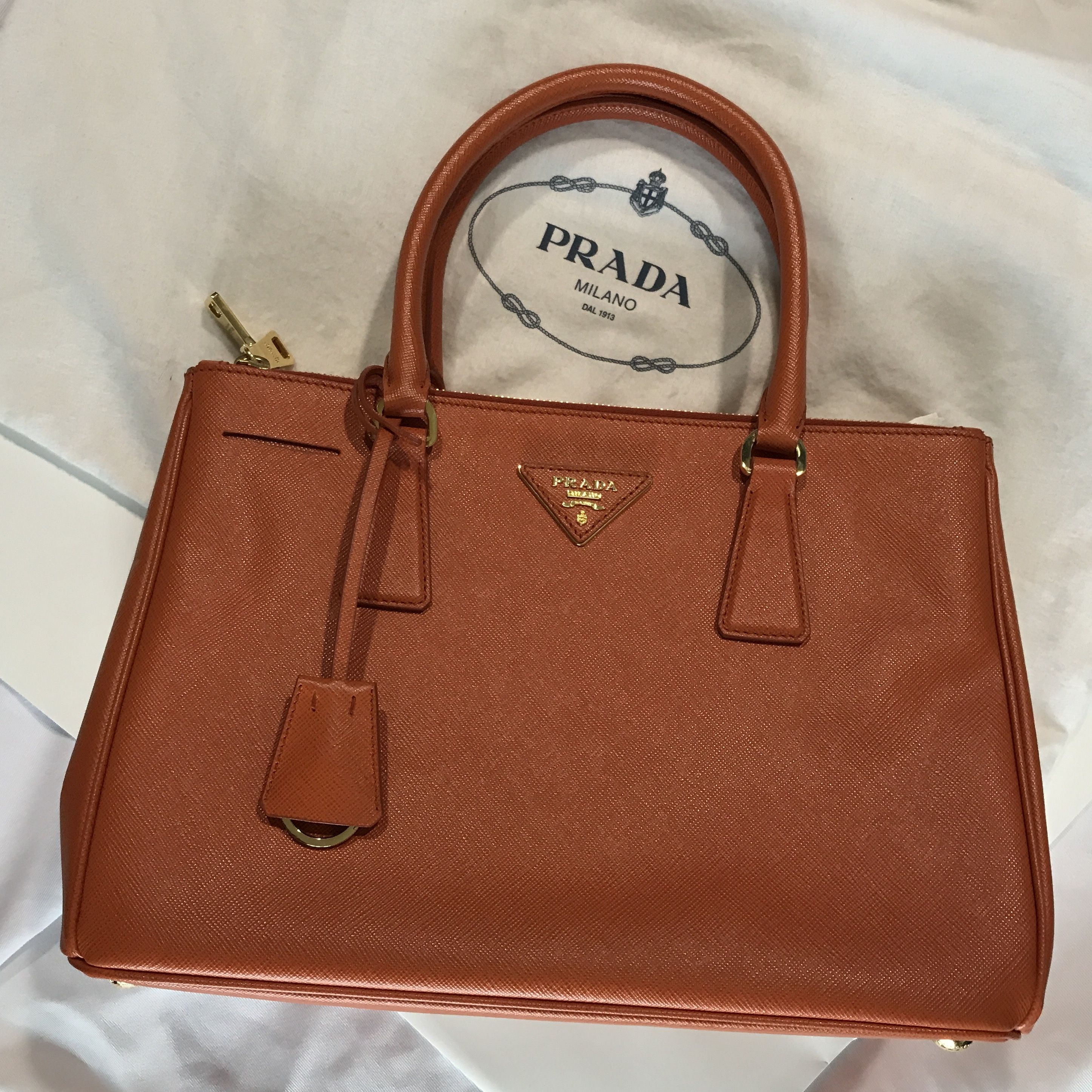 grande vendita c0148 c0c34 Prada Borsa A Mano Saffiano Lux in Papaya ❤️ | Bags! Bags ...
