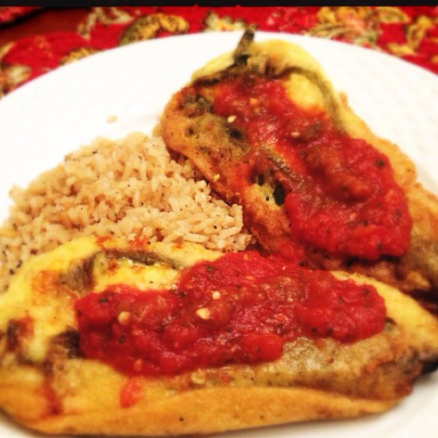 One of my favorite meals: chile relleno with Spanish rice