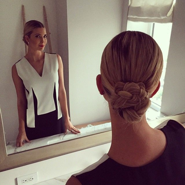 Ivanka Trump.. monochrome, with braided ballet bun.