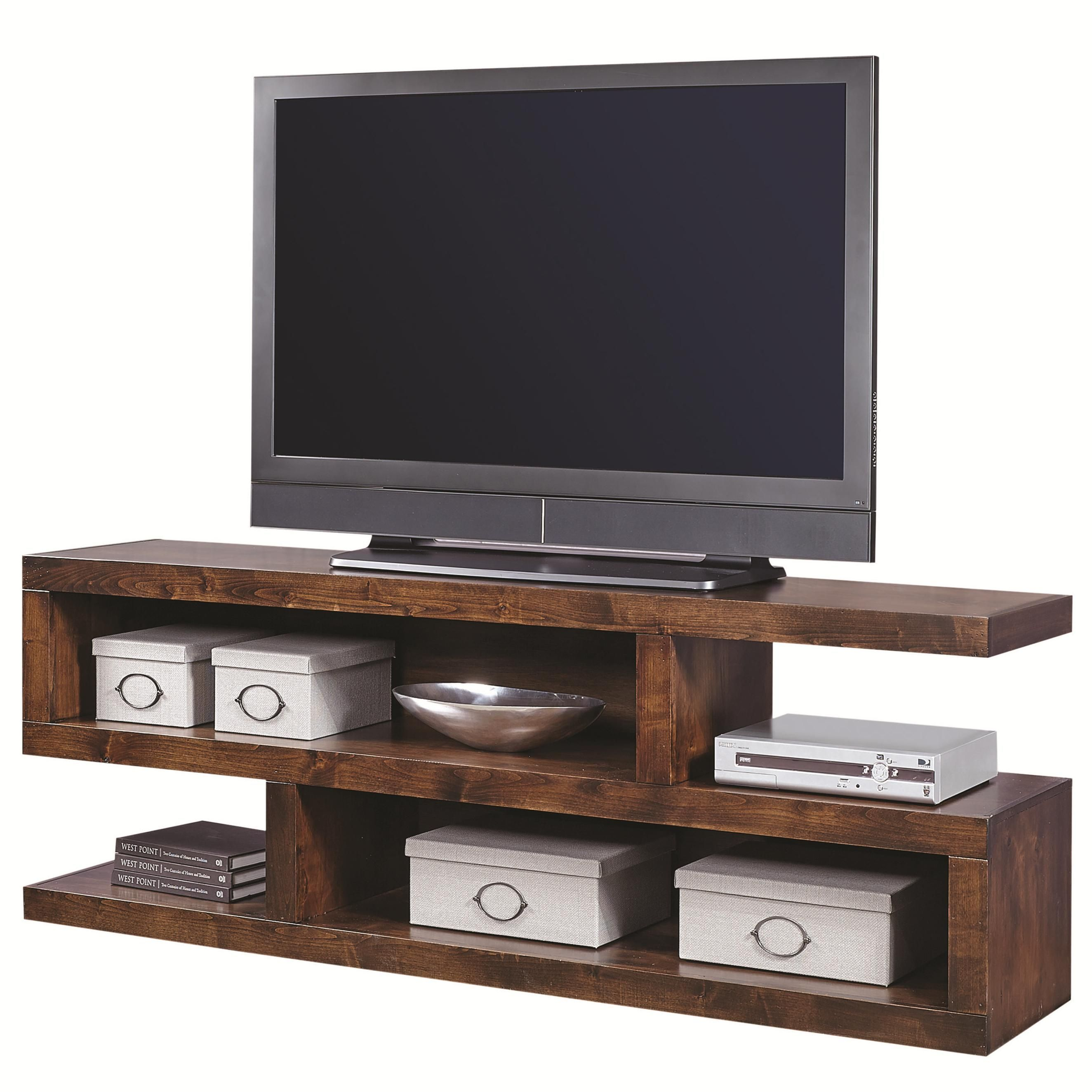 Contemporary alder inch open console with compartments by
