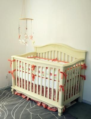 Attrayant Peach And Ivory Baby Girl Nursery With Cherry Crib Bedding: There Are Lots  Of Craft Ideas In This Peach And Ivory Baby Girl Nursery As Well As A DIY  ...