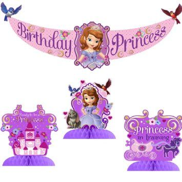 Amazon.com: Sofia the First Party Decorating Kit Includes Centerpiece and Banner: Toys & Games