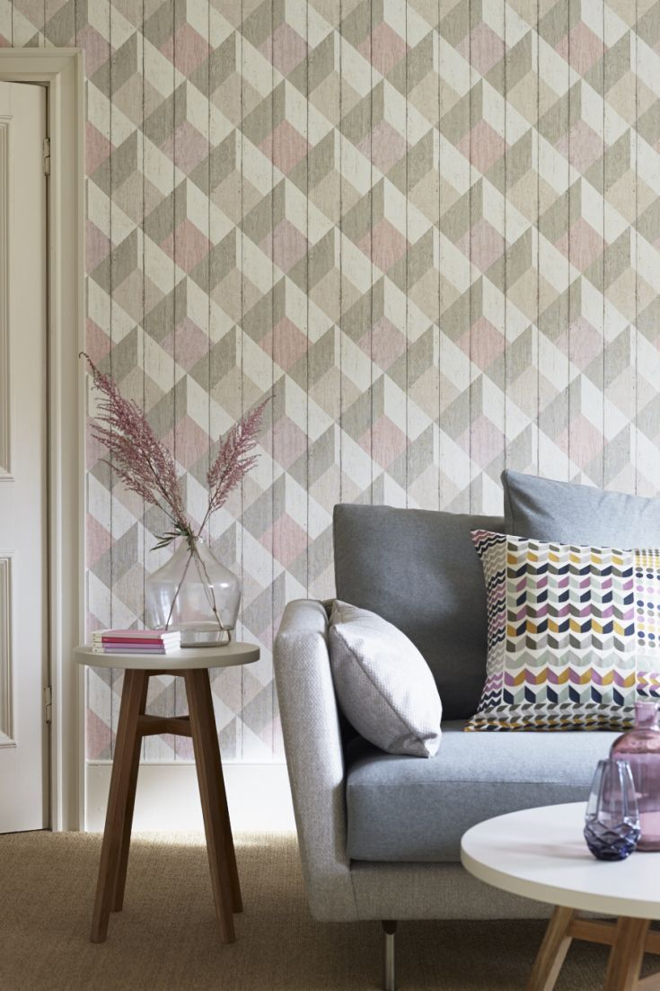 Geometric Wood Panelling By Albany Pink And Grey Wallp