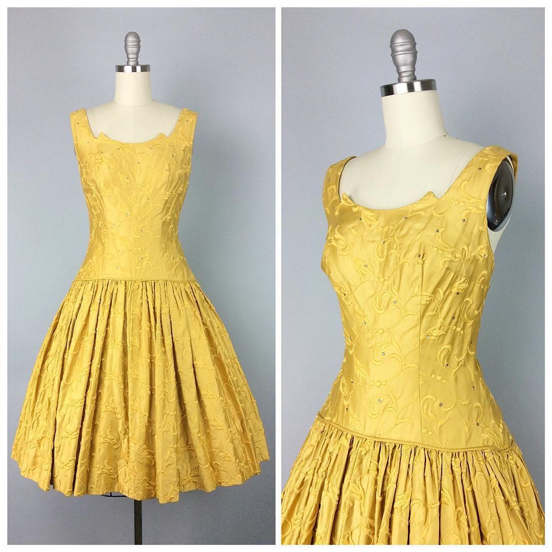 """Gorgeous Golden Rhinestone 50s Party Dress - modern size 6 / 8 - $185   cheshirevintageshop.etsy.com   #vintage #vintageshop #vintagedress #dress #50s…"""