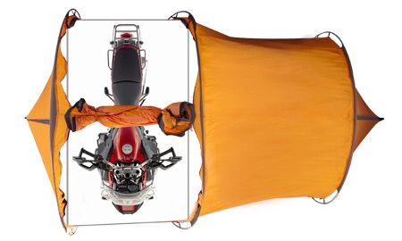 Expedition Tent with motorcycle garage.