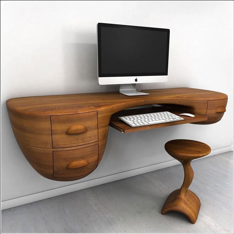 Office : Amazing Computer Desk Design With Rustic Wood Top Idea And  Appealing Style Monitor Completed And Drawers Also Wooden Chair   29 Very  Cool Computer ...