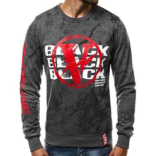 2906d858df5832 OZONEE Sweatshirt Herren Pullover Aufdruck Print Motiv Langarmshirt  JS DD225 DUNKELGRAU 2XL