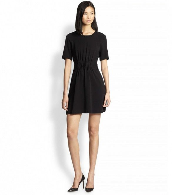 A.L.C. Paige Button-Back Gathered Dress in Black // #Shopping