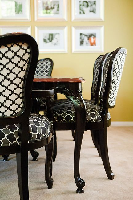 Antique dining table and chairs refinished in black lacquer and ...