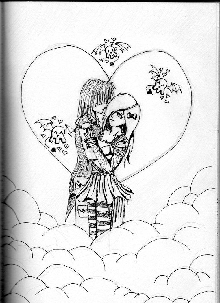 Emo Love Drawing Easy Love Drawings Drawings Easy Drawings