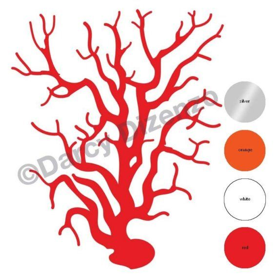 Coral Wall Sticker Decal red orange white or silver by darcyart