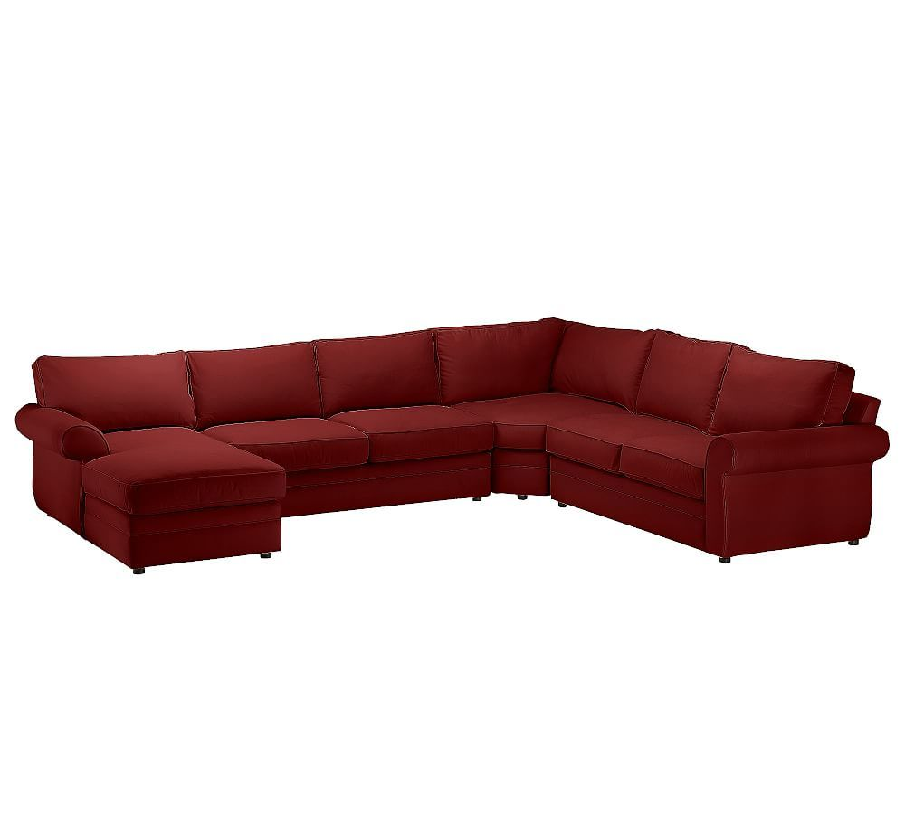 Pearce Roll Arm Upholstered 4-Piece Chaise Sectional With
