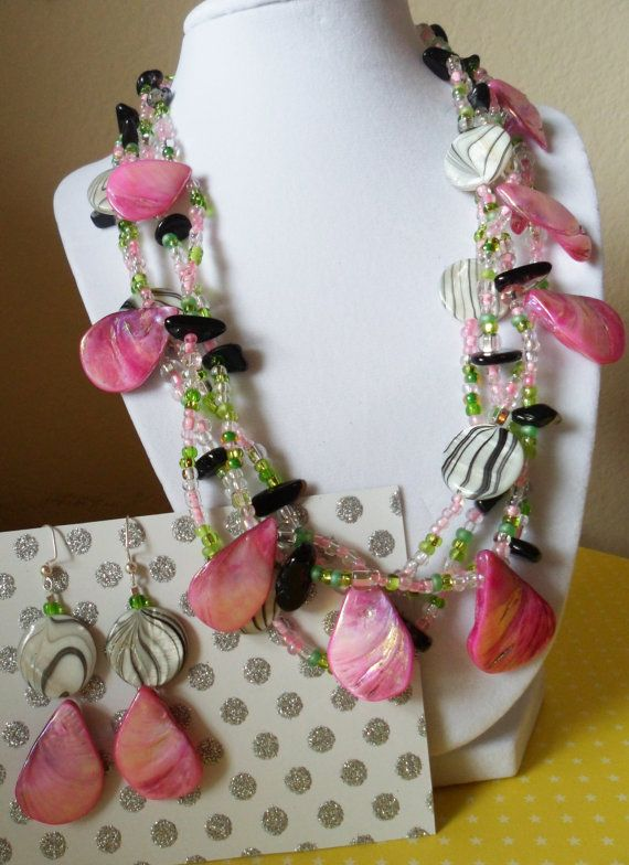 Malibu Marble Set Necklace and Earrings by ateliertili on Etsy, $30.00