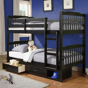 Elise Twin Over Bunk Bed With Storage Black