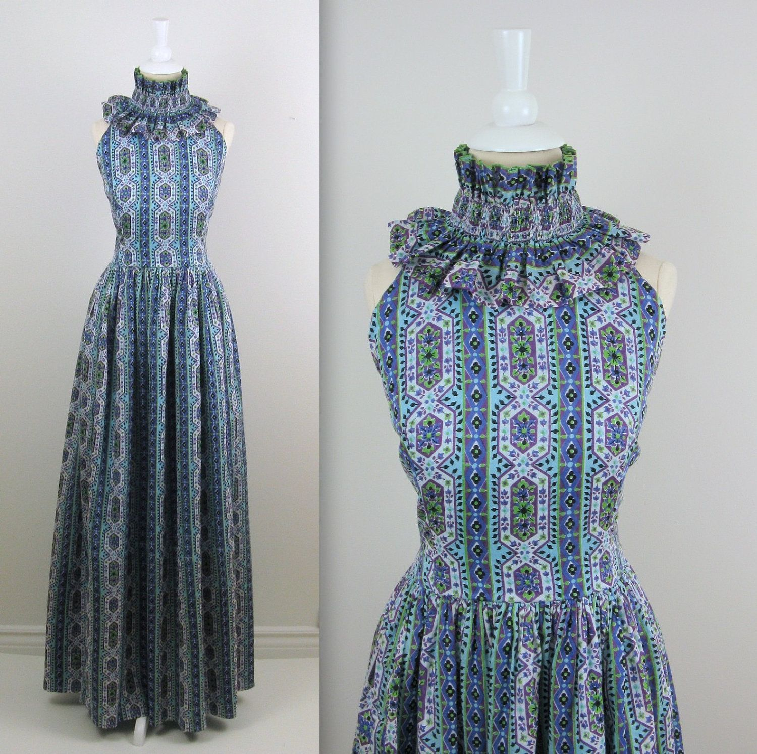 Vintage Maxi Evening Dress - 1960s Long Formal Gown by Design Thai ...