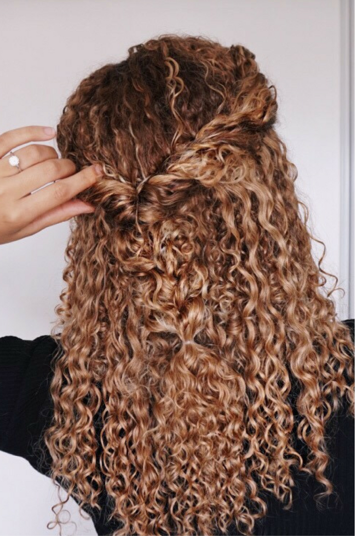 Curly Hairstyles Natural Hair 3b 3c Curls Half Updo Braids Blonde Ombre Curly Hair Curly Hair Styles Curly Hair Styles Naturally Cute Curly Hairstyles