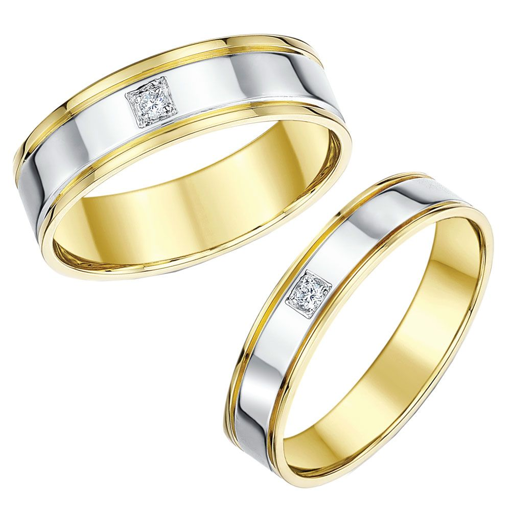His Hers 46mm 9ct Two Colour Gold Diamond Wedding Rings Two