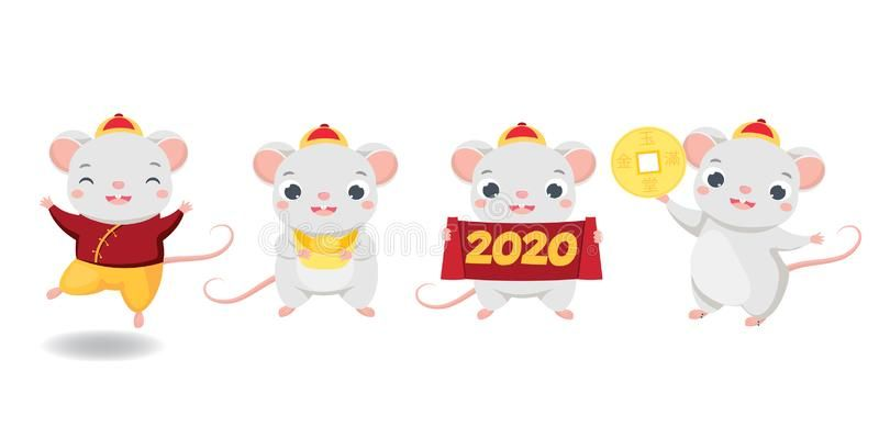 Chinese New Year 2020 Happy Cartoon Mouse Collection