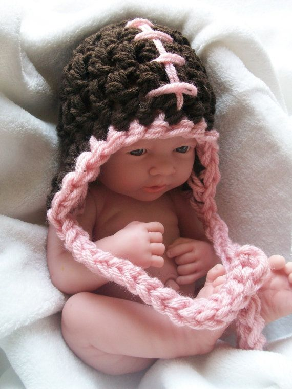 Girl's Football Baby Hat w/ Earflaps and Pink by FoxyLittleThing, $14.00