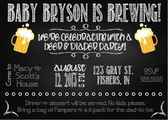 digital chalkboard style diapers and beer baby shower party, Party invitations