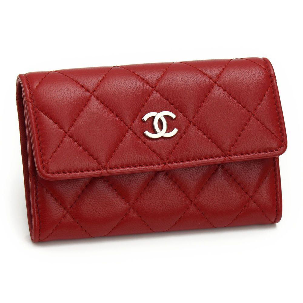 Chanel card case leather red coco mark matrasse authentic