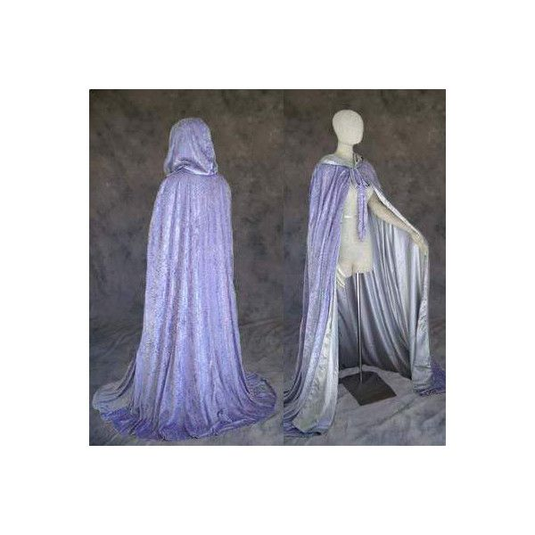 Lavender Velvet Cloak Lined in Silver Satin ($60) ❤ liked on Polyvore