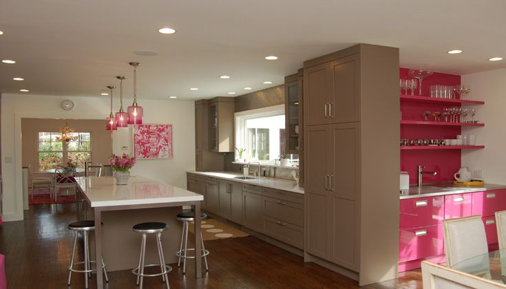 Kitchens by Deane Pink and brown kitchen design with floor to