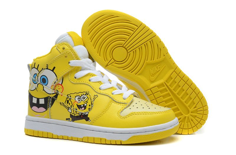 Kids Spongebob Nike Dunk High Tops Yellow Nike USA TrainersAttractive Appearance