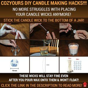 Amazon.com: CozYours 8-Inch CANDLE WICKS WITH STICKERS FOR CANDLE MAKING, 50 PCS, LOW SMOKE & NATURAL, perfect for making votive, container (jars, tins) and pillar candles (candle wicks for candle making)