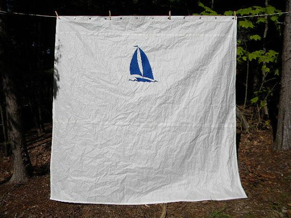 Recycled Sail Shower Curtain One Of A Kind By SailAgainBags