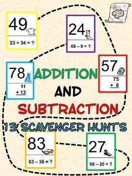 Add and Subtract Whole Numbers - Scavenger Hunts 13-Pack