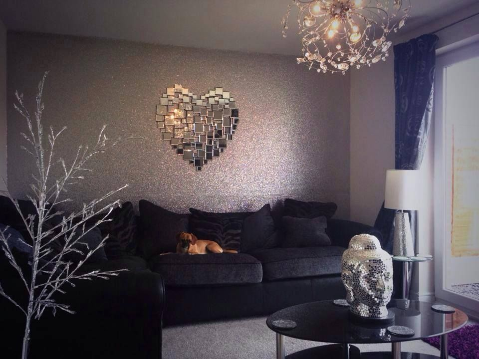 Glitter wallpaper glitter wallpaper downstairs loo and wallpaper - Silver living room designs ...
