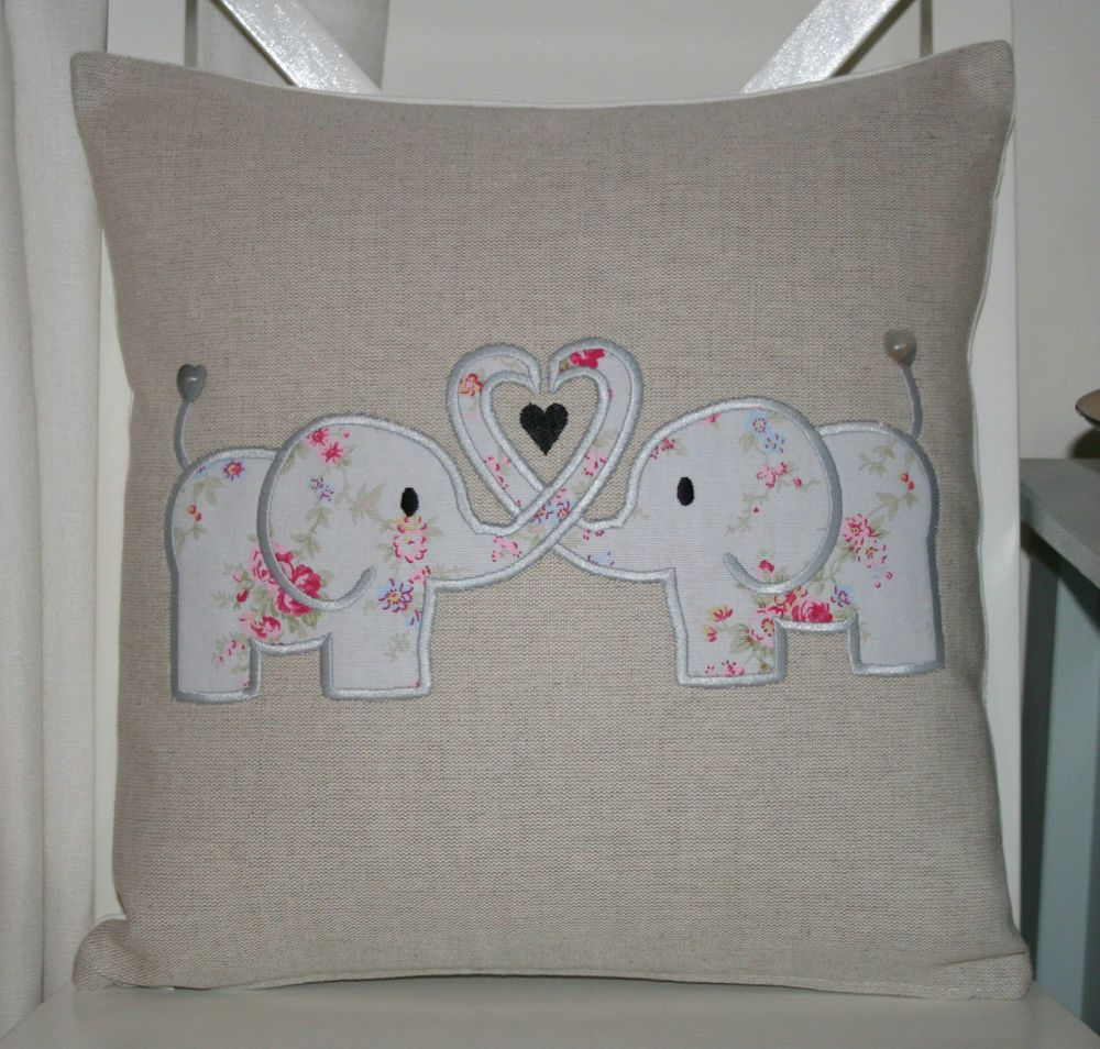 Laura ashley natural austin cushion cover with cath kidston elephant