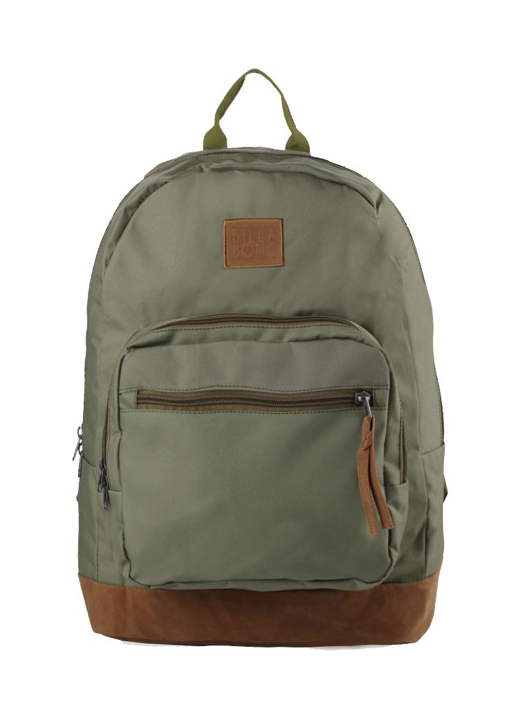 Downtown Backpack by Billabong. Green canvas bag with one main compartment, zipper detail, front pocket, laptop sleeve, adjustable padded strap,  logo patch in front. Backpack that look so simple but eye catching. Backpack measurement 42 cm x 14 cm x 46cm. http://zocko.it/LE2ak