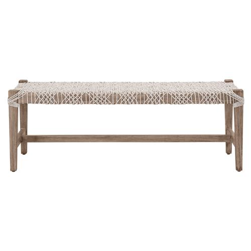 Indoor//Outdoor Seagrass Bench Dark Natural Wood Finish Frame Brown Solid Acacia Rubberwood