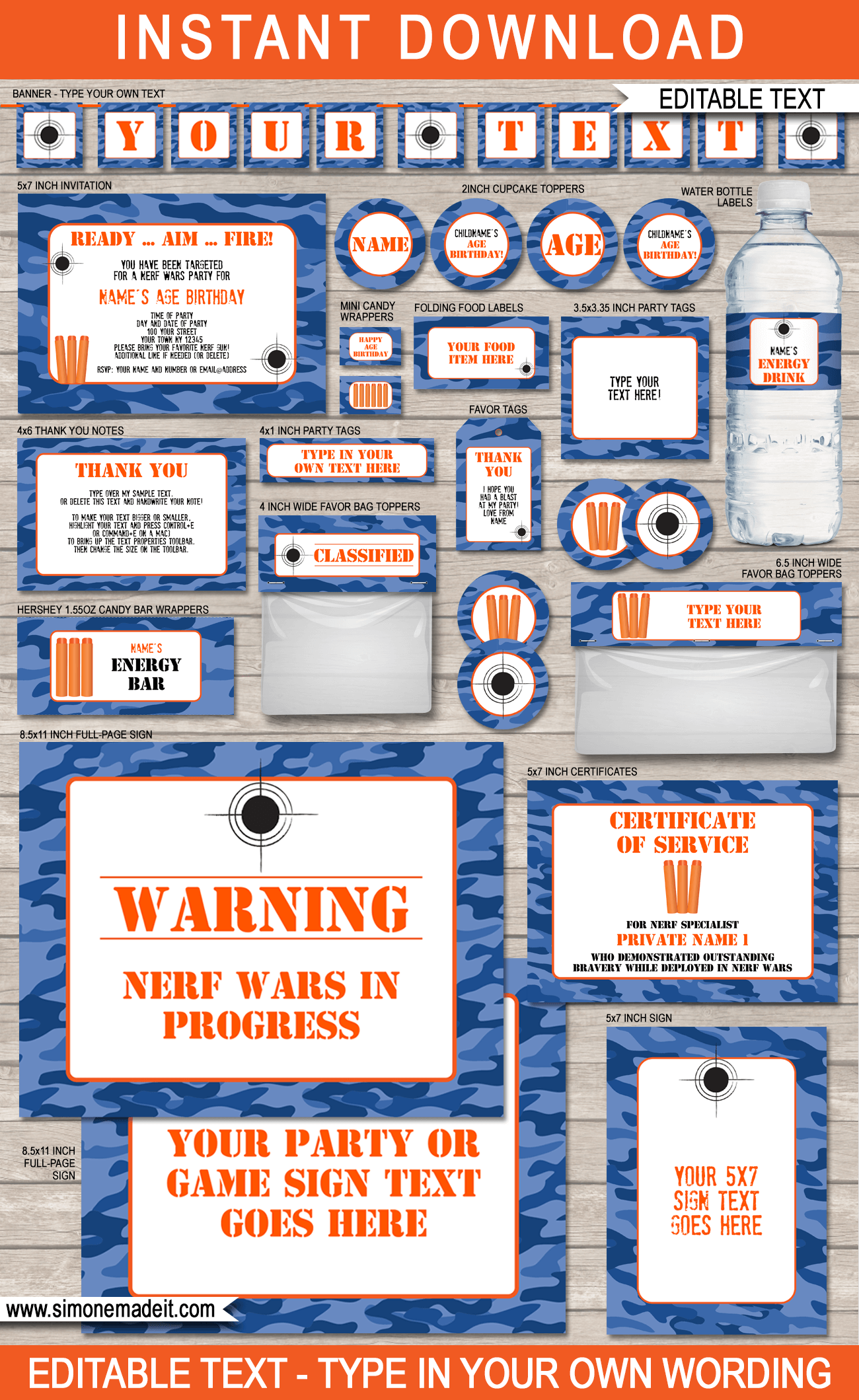 Blue Camo Nerf Party Printables Invitations and Decorations DIY Birthday Party Theme