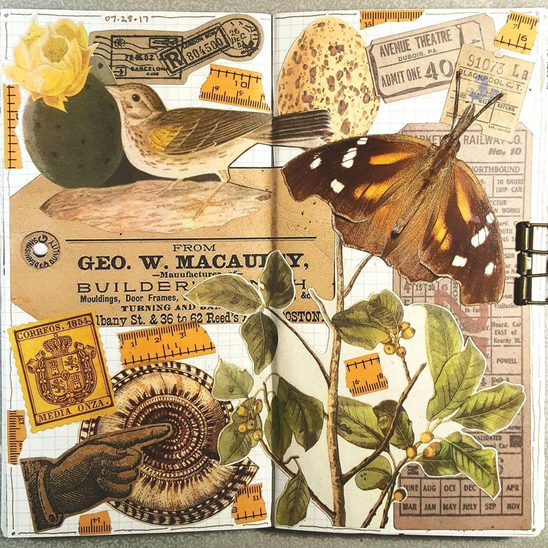 Last collage in Insert #7 #constancerosedesigns #collage #collagejournal #collagejourney #collageartist #artjournal #mtn #midoritravelersnotebook #travelersnotebook #vintagepaper