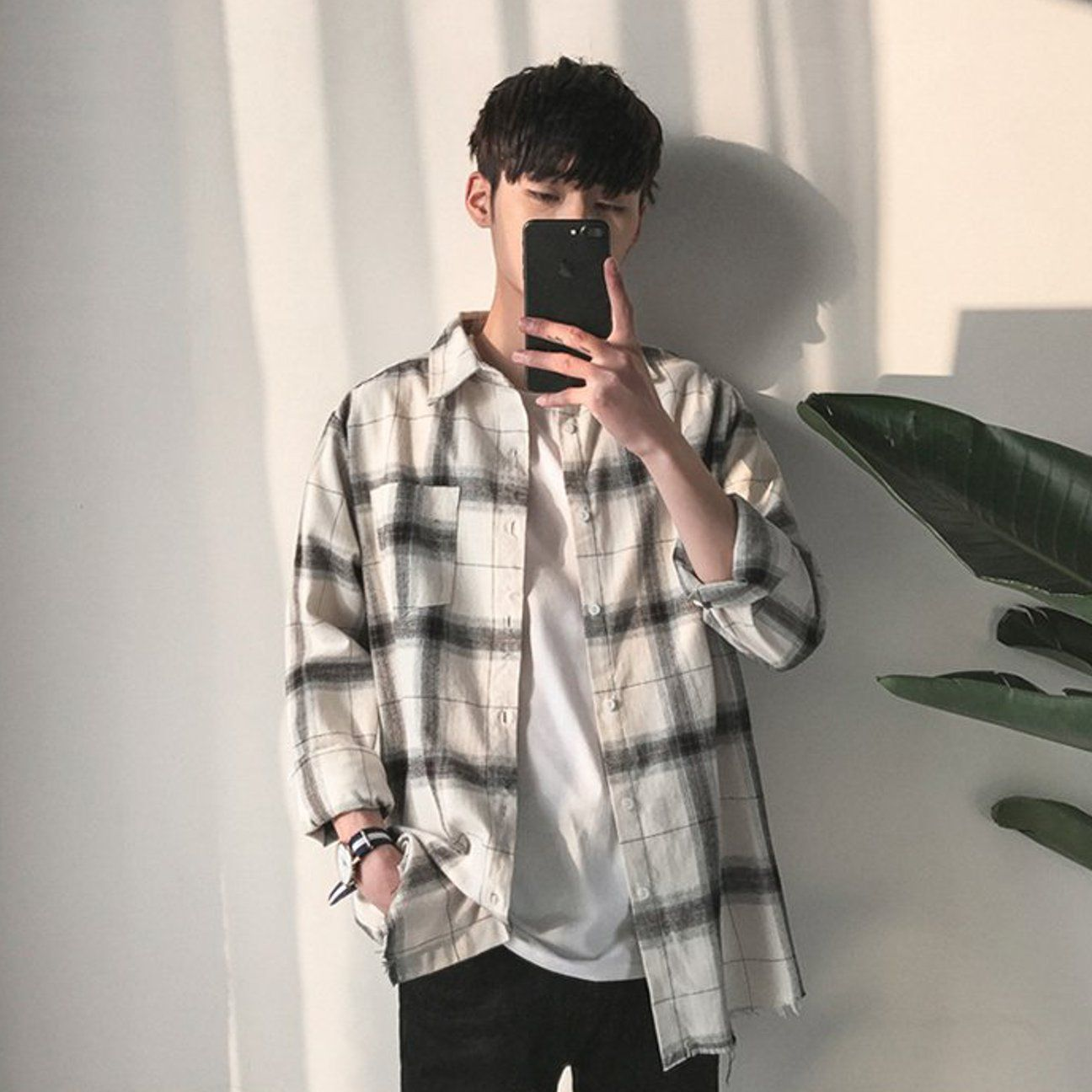 Ripped Boy Plaid Flannel in White  Flannel outfits men, Long