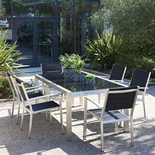 Table de jardin 220x100 en Aluminium et plateau verre ...