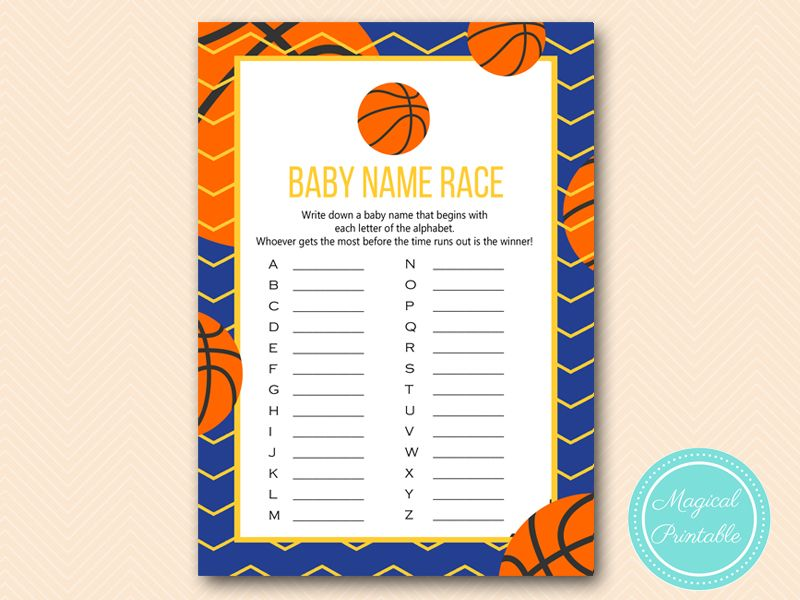 Blue Basketball Baby Name Race, Alphabet Baby Name Race Game, Basketball  Baby Shower, Sport Baby Shower Game, Activities