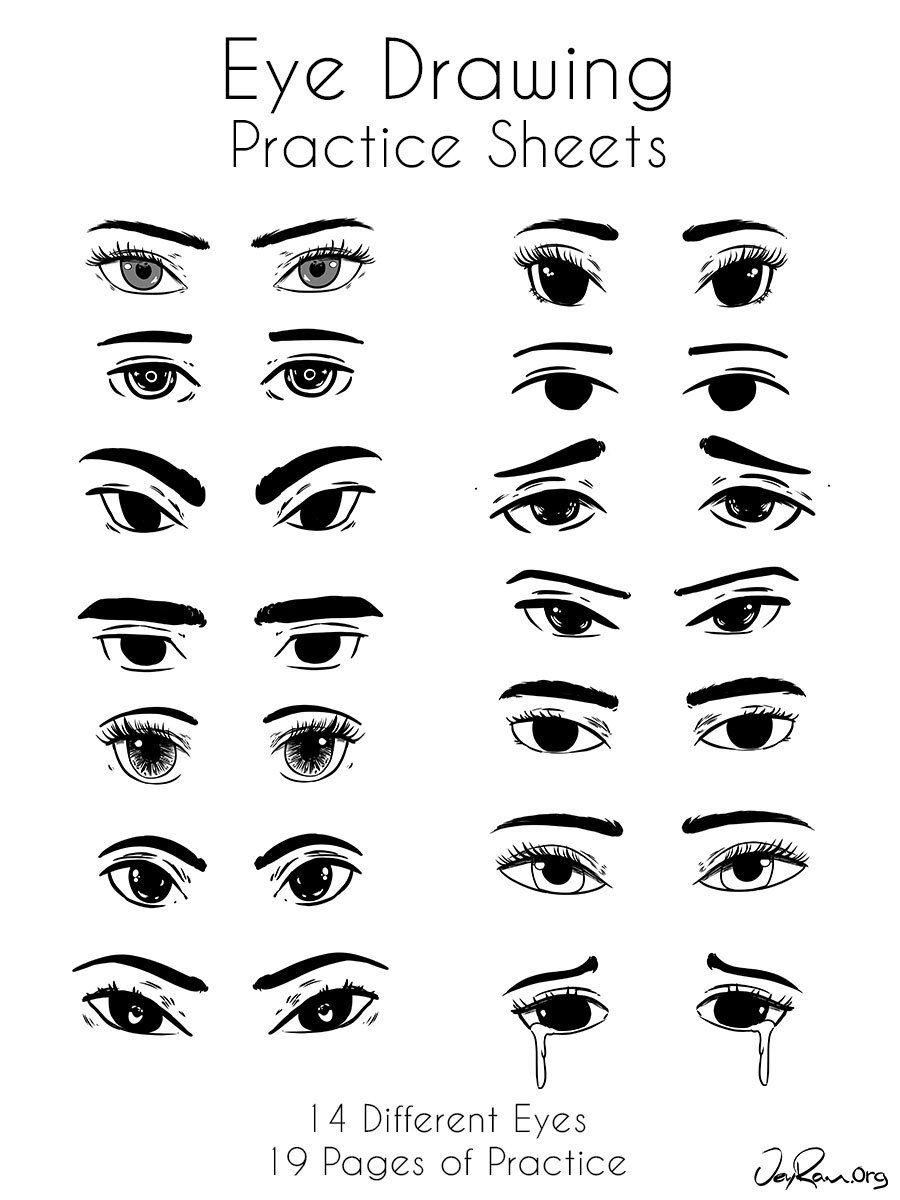 Eye drawing practice printable pdf jeyram art in 2020