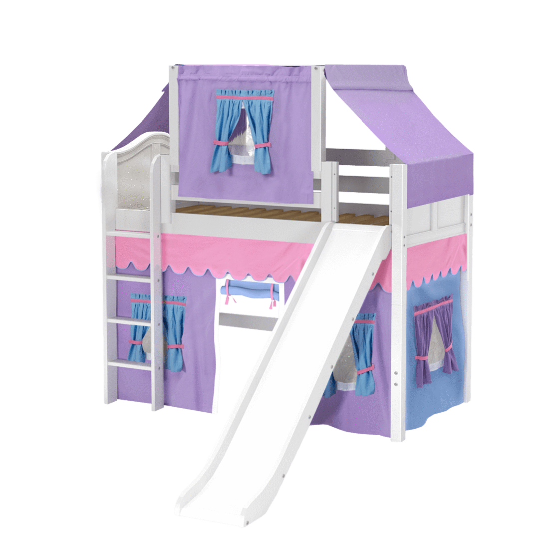 Twin Mid Loft Bed with Straight Ladder, Curtain, Top Tent