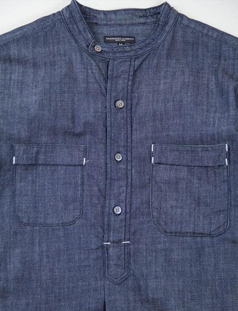 e97ed6f4 bar tack details Denim Top, Denim Shirt, Banded Collar Shirts, Kurta Men,