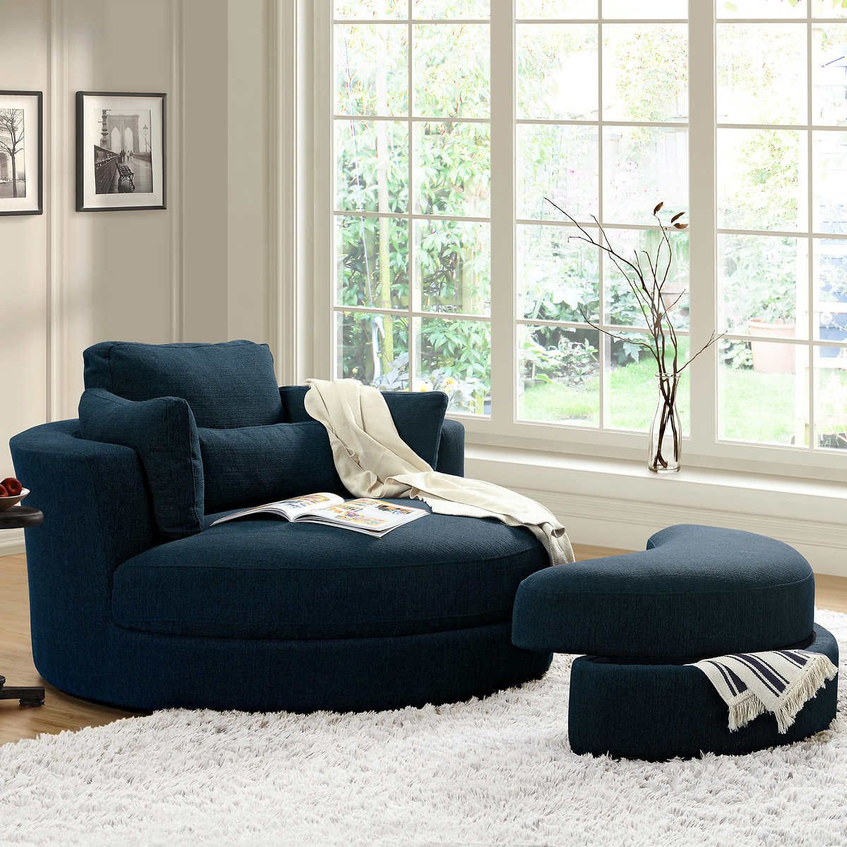 Remarkable Turner Blue Cuddler Swivel Chair With Storage Ottoman In Dailytribune Chair Design For Home Dailytribuneorg