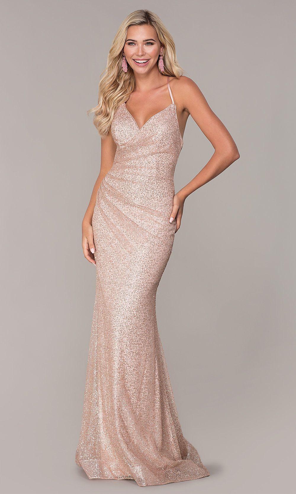 Long Corset-Back Glitter Prom Dress by