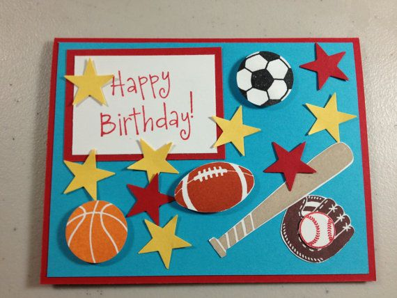 Handmade SportsThemed Birthday Card on Etsy 450 – Themed Birthday Cards