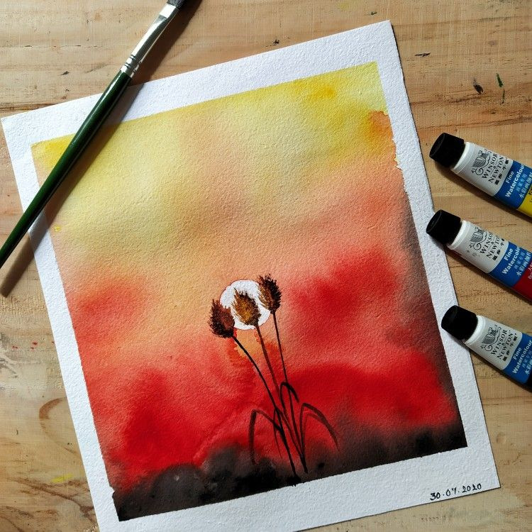Practising watercolor. Beautiful vibrant sunset in watercolor. #artphilic #artphilicme #sunset #watercolor #illustration #watercolorillustration #easywatercolorpaintings #artist #art