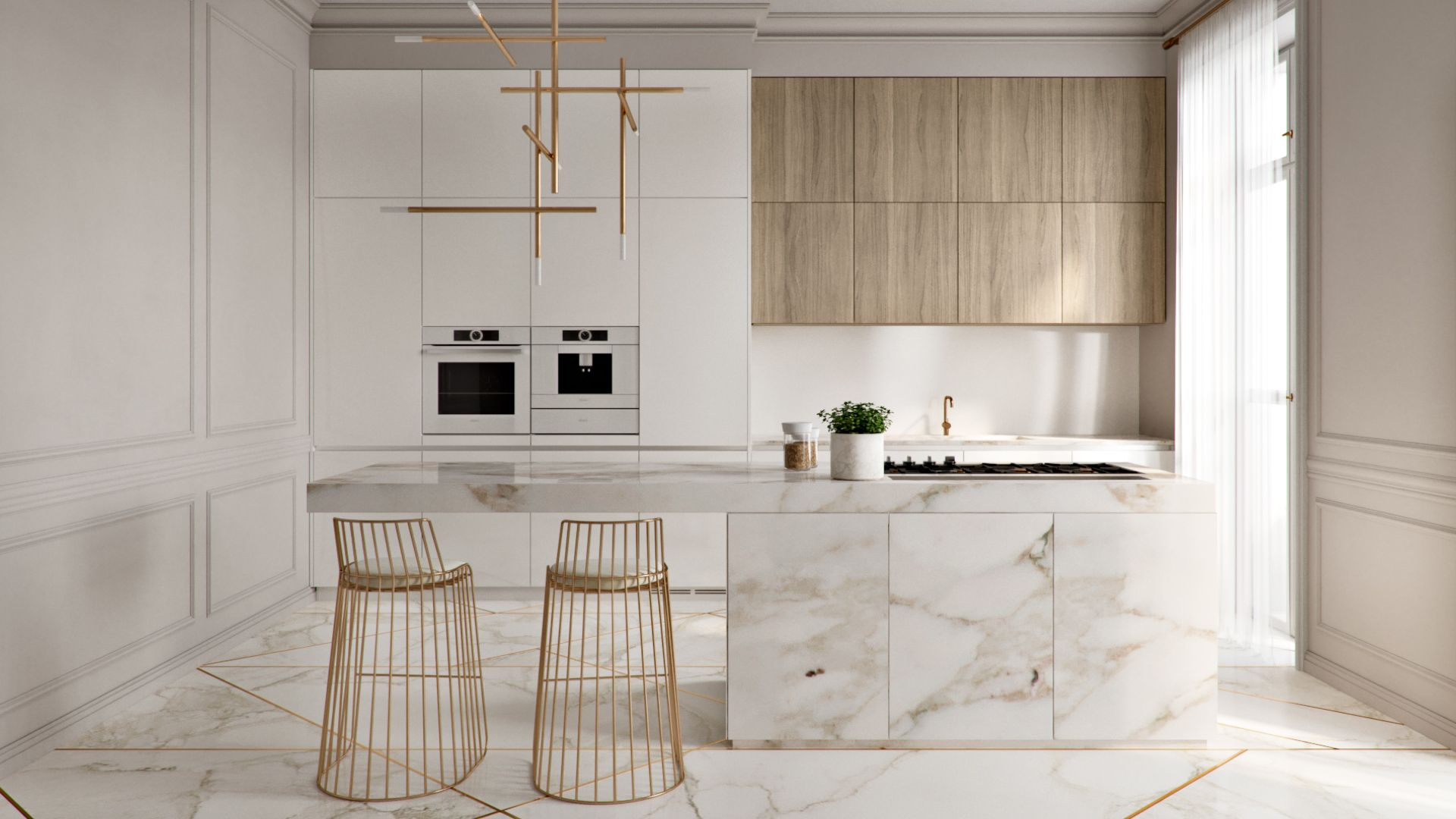 Keuken Art Deco Gold Mramor Floor White Kitchen Art Deco Kitchens Modern