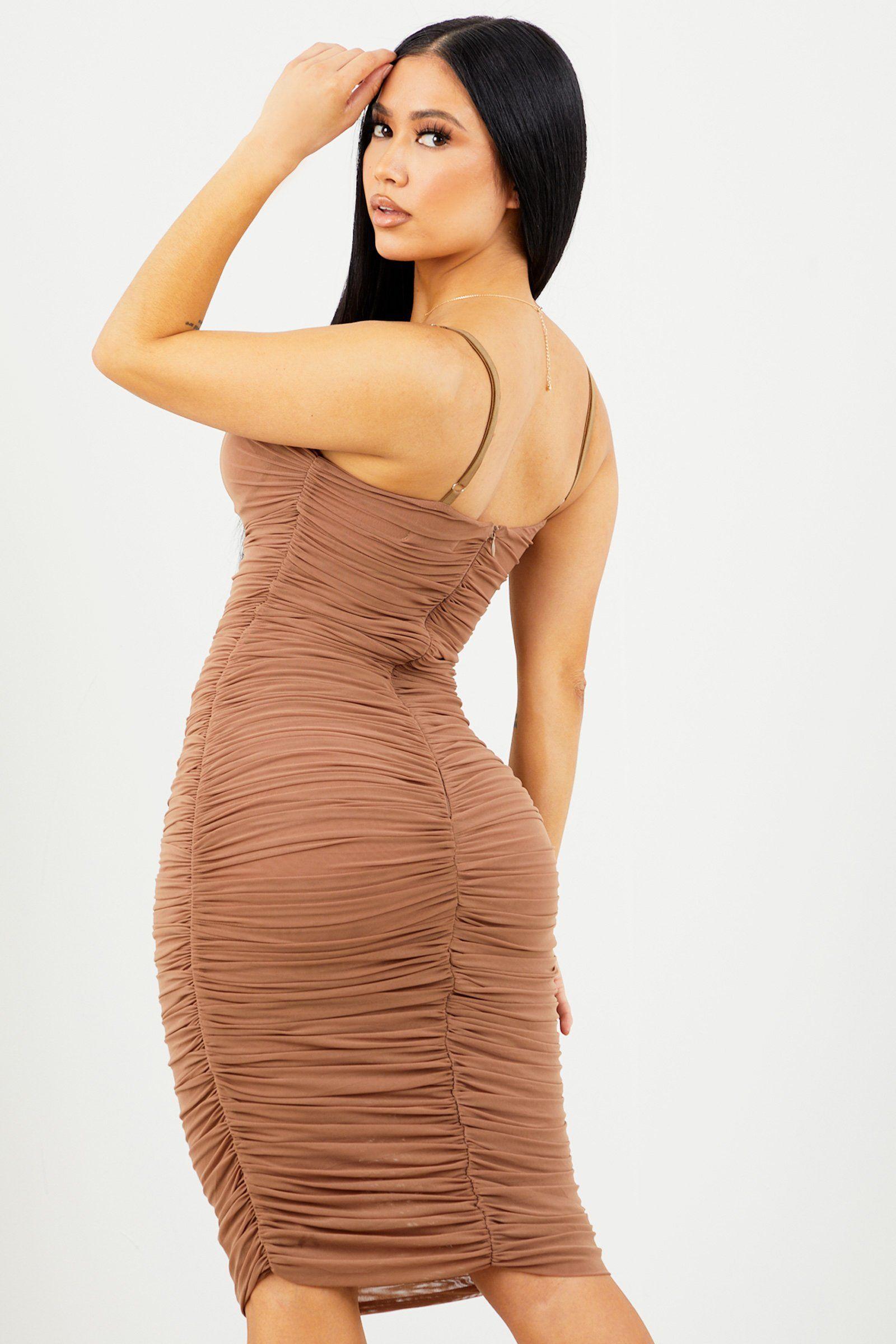 Tan Ruched Midi Dress Sosorella Ruched Midi Dress Midi Dress Dresses [ 2400 x 1600 Pixel ]
