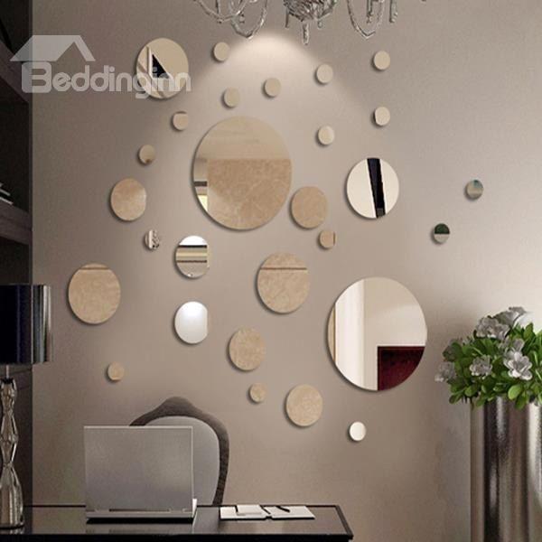 New Cute Roundness Pattern Plastic Silver Polka Dot Mirror Wall